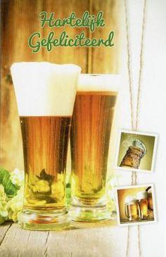 Felicitatiekaart voor mannen | Wenskaartenshop Pint Glass, Wedding Day, Happy Birthday, Tableware, Carton Box, Beer, Pi Day Wedding, Happy Aniversary, Happy Brithday