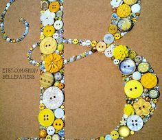 Button Art Monogram 9x12 Swarovski Rhinestones by BellePapiers