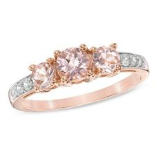 5.0mm Morganite and 0.10 CT. T.W. Diamond Three Stone Ring in 10K Rose Gold