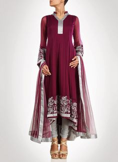 Burgundy Georgette Anarkali Suit
