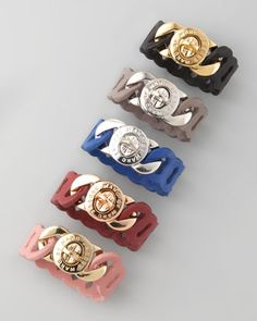want these bad!  Laser-Cut Leather Katie Turnlock Bracelet by Marc By Marc Jacobs at Neiman Marcus.