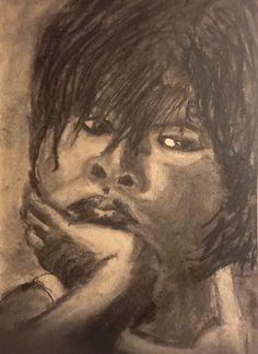 Little Asian girl. Houtskool op tan toned paper. 14 x 21,5 cm