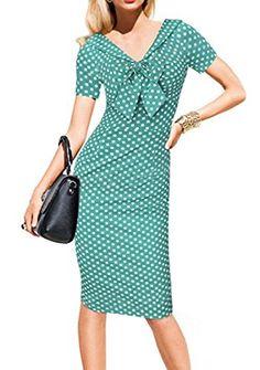 859def5e1173 Xiang Ru Sommer V Ausschnitt Damen Bleistift Kleider Bodycon Etuikleid  Schlauch kleid Cocktail Kleid S Grün