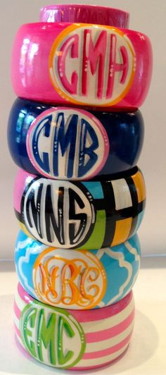 hand painted monogrammed bangles | Hand Painted Monogrammed Bangle Geometric Pattern ...