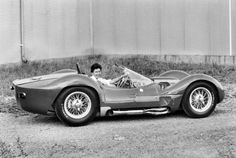 """Sierra """"Smokey"""" Drolet, seen here in Birdcage Maserati, was a regular at SCCA Regional events in the Southeast in the late '50s. The Birdcage was brand new when this photo was taken. It is chassis 2467, completed on July 12, 1960. It took a while to arrive in Chattanooga and was first raced by Jim Jeffords and Jim Hall in the September 11, 1960 Road America 500. Carroll Shelby also drove it in his last two races."""