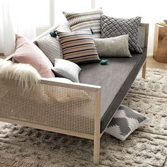 Bonus room: The perfect setting for siestas. Designed by Mermelada Studio in Spain, our Boho Daybed approaches sofa styling with the relaxed comfort of a bed. Daybed Couch, Rattan Daybed, Daybed Room, Daybed Mattress, Mattress Covers, Daybeds, Daybed In Living Room, Diy Daybed, Futon