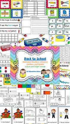 Back to School Literacy Preschool and Kindergarten!  Back-to-School themed literacy centers, games, emergent readers, and printables.  121 pages. $