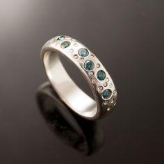 Blue Diamond Star Dust Wedding Ring in Sterling Silver. $395.00, via Etsy.