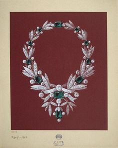 """shewhoworshipscarlin: """" Watercolor necklace design, 1903-04, Russia. """""""