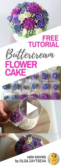 HOT CAKE TRENDS How to make Buttercream dahlia and rose flower cake - Cake decorating tutorial by Olga Zaytseva. Learn how to make very trendy buttercream dahlia, roses and blossoms, and create this gorgeous flower cake. In variety of purple shades, this stunning floral cake perfectly suits any memorable party. Also you will learn how to layer and frost tall cake with perfectly smooth sides and create buttercream ombre effect.