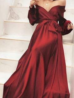 Chic A-Line Off-the-Shoulder Burgundy Sweep Train Satin Prom Dress with Long Sleeve Chic A-Line Off-the-Shoulder Burgundy Sweep Train Satin Prom Dress with Long Sleeve,off-the-shoulder prom dresses,burgundy prom dresses,long sleeve prom dresses Evening Dress Long, Burgundy Evening Dress, Evening Dresses, Burgundy Dress, Dress Red, Elegant Dresses, Sexy Dresses, Cute Dresses, Formal Dresses