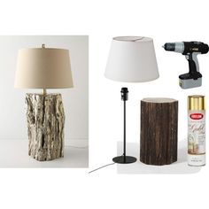 I was searching Pier1 for lamps I'd like so we can get a matching pair for the living room end tables and it occurred to me that we can just turn the cool woodpecker house logs we have into lamps. LOVE!!