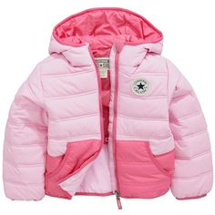 Converse Young Girls Padded Jacket (€28) ❤ liked on Polyvore featuring outerwear, jackets, converse jacket, pink jacket and padded jacket