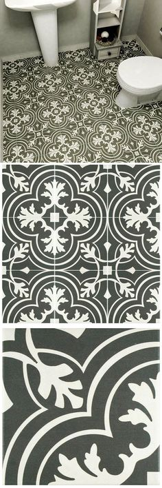 This is the latest addition to our line of pieces inspired by artisan cement tiles. The medium-sheen glaze features a fleur-de-lis inspired pattern in hues of inky and pale gray. Use this durable tile with the rest of the geometric patterned Twenties series or as a lively accent for any application to your indoor floors or walls.