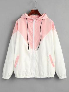 874d0fb54bf2a Autumn Fashion Hooded Two Tone Windbreaker Jacket
