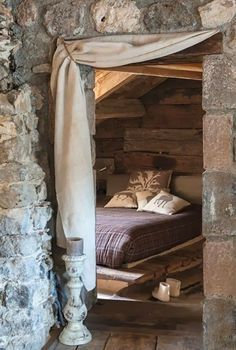 Mountain Cabin Living - Beautiful stone work and rustic cabin bedroom Mountain Cabin Living - Beautiful stone work and rustic cabin bedroom Rustic Bedroom Design, Rustic Bedrooms, Bedroom Designs, Cabins And Cottages, Deco Design, Cabins In The Woods, Rustic Interiors, Cozy House, Cozy Cabin