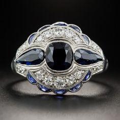 Art Deco 1.75 Carat Sapphire and Diamond Ring