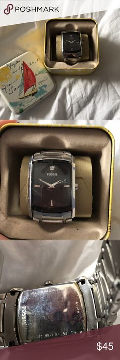 Men's Fossil watch Stainless steel men's Fossil watch. Black face, has some scratches from wear and needs new battery. Comes with original care instructions, extra links, and original case. Fossil Accessories Watches
