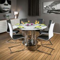 Round Dining Set White 150cm Dia Corian Table 6 X Grey / White Chairs
