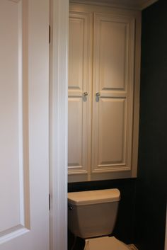 cabinet over toilet...this is awesome. We definitely need something like this downstairs.