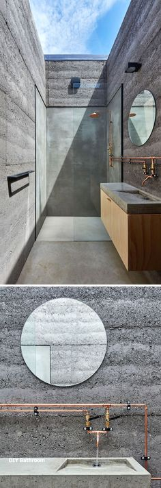 minimalist bathroom // The bathroom has walls made from rammed earth in a charcoal color, and a large skylight makes it appear as though you are showering outdoors. Outdoor Bathrooms, Outdoor Rooms, Outdoor Office, Half Bathrooms, Outdoor Baths, Indoor Outdoor, Minimalist Bathroom, Minimalist Home, Casa Magnolia
