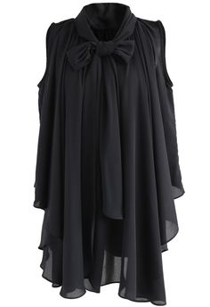 Bowknot Lover Asymmetric Chiffon Sleeveless Top in Black - New Arrivals - Retro, Indie and Unique Fashion