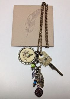 Leading A Craftastic Life: MOPS Be You Bravely Leadership Gifts for the New Year.  Necklaces with Bottle Cap charms, feather charms and courage key.