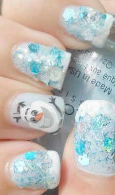 Nail Tutorial for DIY Frozen Olaf Fingernails