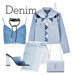 """""""Day to Night Denim..."""" by ninawebb-xo ❤ liked on Polyvore featuring Diesel, Sandy Liang, Amélie Pichard, Yves Saint Laurent and Denimondenim"""