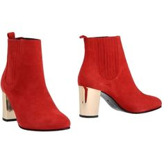Opening Ceremony Ankle Boots ($275) ❤ liked on Polyvore featuring shoes, boots, ankle booties, red, red booties, leather sole boots, short boots, leather boots en round toe ankle boots