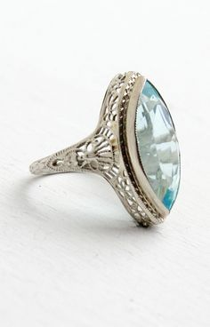 Aquamarine filigree ring