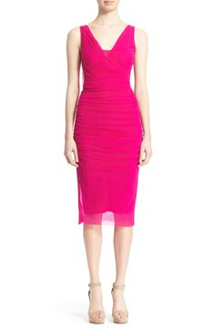 Fuzzi Ruched Tulle Mesh Dress