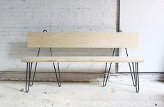 HomeMade Modern DIY Hairpin Bench Options