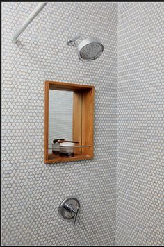 Upstairs and downstairs bath :: mirrored nook and tile