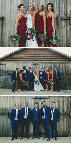 Cranberry bridesmaid dresses and blue groomsmen suits