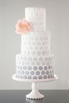 Wedding Cakes Grey Ombre Polka Dot Cake via Fab Day. - For inspiration for a fab polka dot wedding cake, we've rounded up some cool ideas in every shape in size. Gorgeous Cakes, Pretty Cakes, Amazing Cakes, Wedding Cake Designs, Wedding Cakes, Fondant Cakes, Cupcake Cakes, Pink Ombre Cake, Polka Dot Cakes
