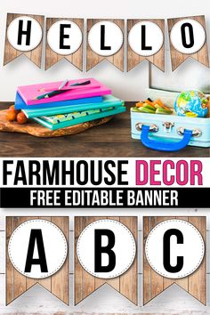 FREE Editable banner printable perfect for your classroom decor. Make your own flag letters using this template. With these easy to edit templates, creating decorations for your farmhouse classroom wa Classroom Wall Displays, Classroom Banner, Classroom Walls, Classroom Setup, Classroom Organization, Classroom Environment, Chalkboard Classroom, Chalkboard Banner, Printable Banner