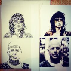 Keith Richards and Bruce Willis drawn using type in fineliner. All words written are quotes from these people.