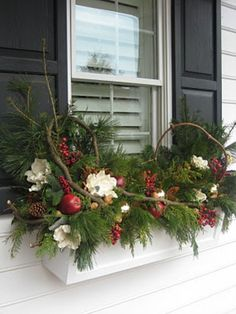 Winter window box just add tiny white lights and they are … - Christmas Decorations Christmas Window Boxes, Winter Window Boxes, Christmas Urns, Christmas Planters, Christmas Arrangements, Outdoor Christmas Decorations, Winter Christmas, Christmas Wreaths, Fall Planters