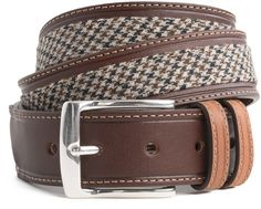 958df408bb0 Refined belt with a woven check inset sets the standard for belts this  season
