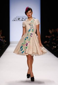 Kenley Collins-white dress, hand painted flowers.  Beautiful dress!