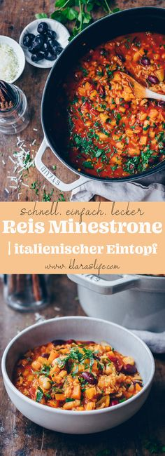 This Rice Minestrone with fresh and delicious vegetables, beans and fruity tomatoes are a wonderful and easy meal. Its quick and nurishing. Fresh Vegetables, Veggies, Italian Stew, Tinned Tomatoes, Food Advertising, Food To Make, Clean Eating, Easy Meals, Yummy Food