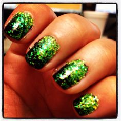 Black and lime green glitter :)