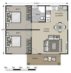 converting a double garage into a granny flat - PERFECT for our basement - kitchen and bathroom on the same wall ! Small House Plans, House Floor Plans, 2 Bedroom Floor Plans, Granny Flat Plans, Plan Chalet, Garage Remodel, Apartment Plans, Studio Apartment, Flat Ideas