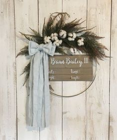 New baby first outfit hospital girls birth announcements 17 Ideas Baby Door Wreaths, Hospital Door Wreaths, Hospital Door Signs, Baby Boy Wreath, Hospital Door Hangers, Baby Boy Nursery Decor, Nursery Signs, Baby Boy Nurseries, Baby Decor