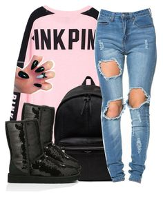"""""""love black"""" by hispeaceprincess ❤ liked on Polyvore featuring Victoria's Secret PINK, Yves Saint Laurent and UGG Australia"""