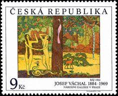 Josef Váchal (1884- †1969) Czech writer, painter, printmaker and book-printer. Znamka / Stamp: 1996, Design: Josef Váchal:1912 -
