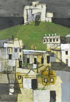 'Pickering Castle' by Keith Vaughan, 1945 (pencil, gouache, crayon and ink) Urban Landscape, Abstract Landscape, Landscape Paintings, Abstract Art, Collages, Glasgow School Of Art, Building Art, Urban Art, Castle