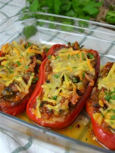Peppers stuffed with minced meat - Recipes - Recetas Facile Healthy Low Carb Recipes, Veggie Recipes, Beef Recipes, Mexican Food Recipes, Great Recipes, Healthy Foods, Recipies, Dinner Recipes, Dessert Recipes
