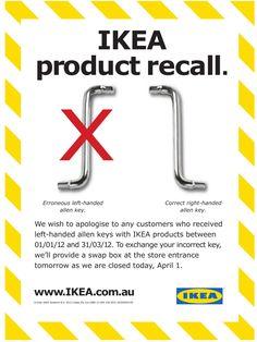 IKEA Left Handed Allen Key Product Recall